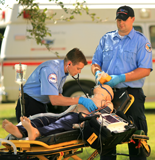 Paramedic students in training session