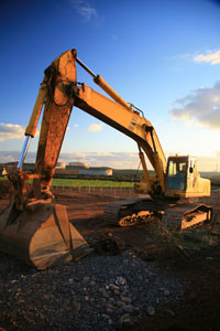 large heavy equipment on construction site