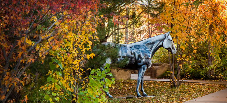 Horse statue in autumn setting