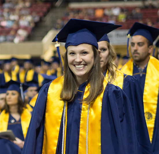 graduates at MSUB's 2015 Commencement ceremony