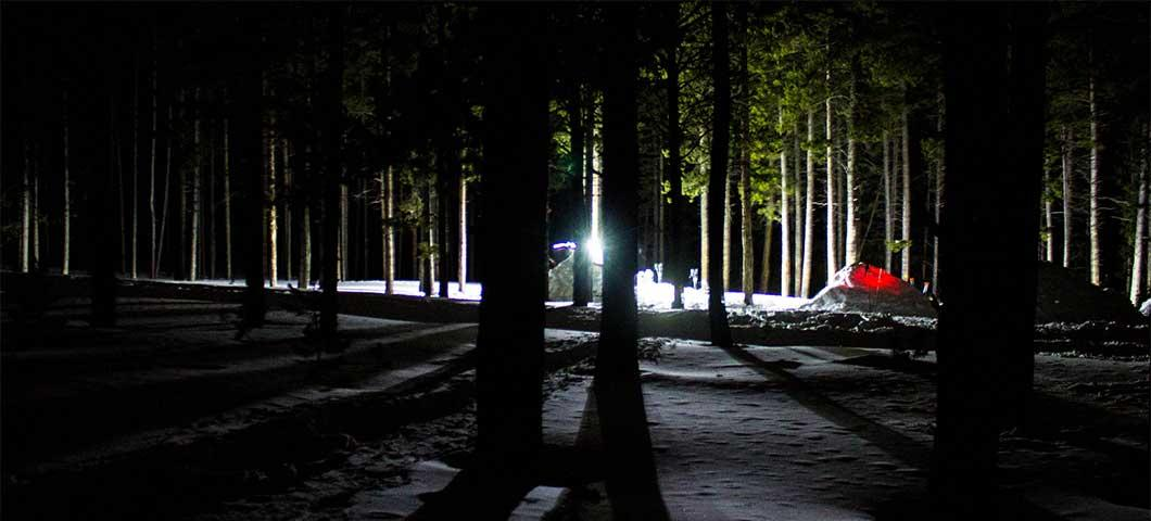 A campsite at night.
