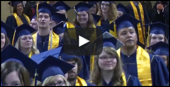 video screen and link to the 2017 Commencement video