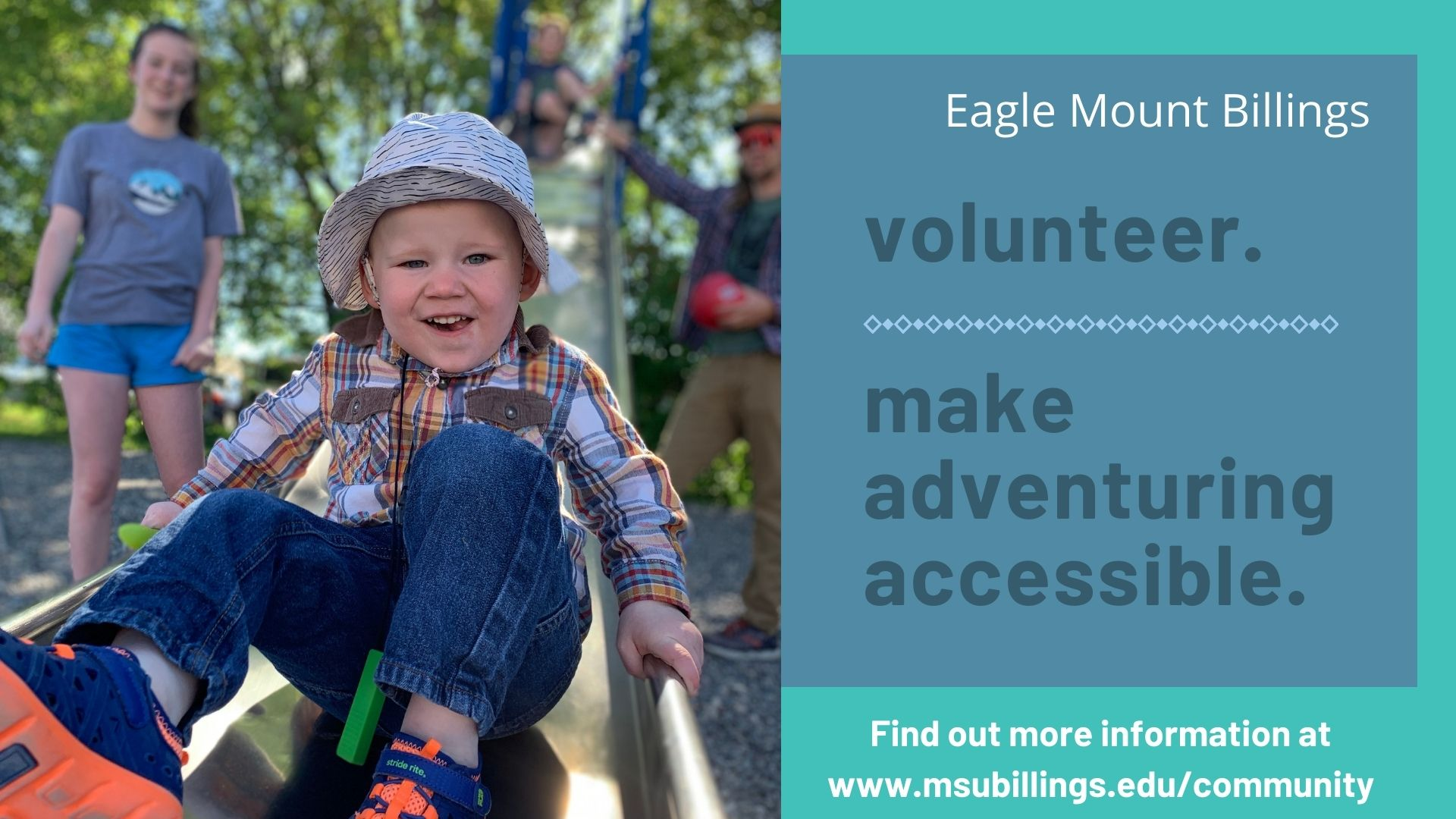 Eagle Mount Billings volunteer make adventuring accessible find out more information at msubillings.edy/community