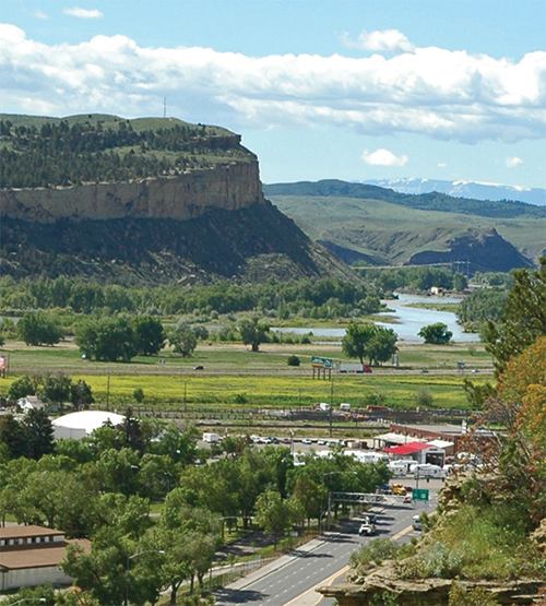 a view of Sacrifice Cliffs along the Yellowstone River