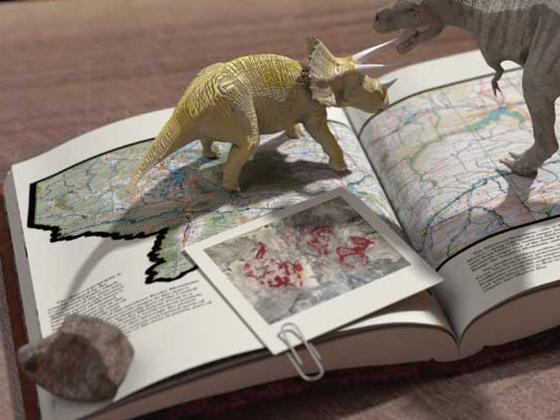 dinosaur standing on atlas of Montana