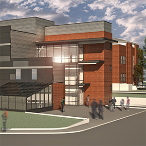 rendering of the new health sciences building