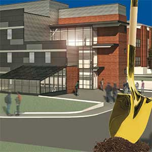 gold shovel and rendering of the new science building