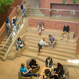 students meeting and studying in the SUB atrium