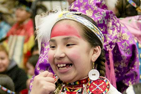 a young dancer at the MSUB Powwow