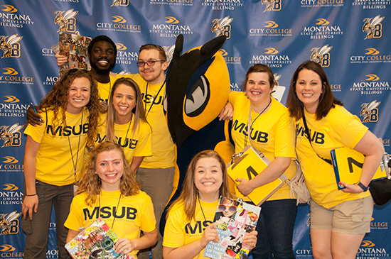 MSUB students pose with mascot Buzz