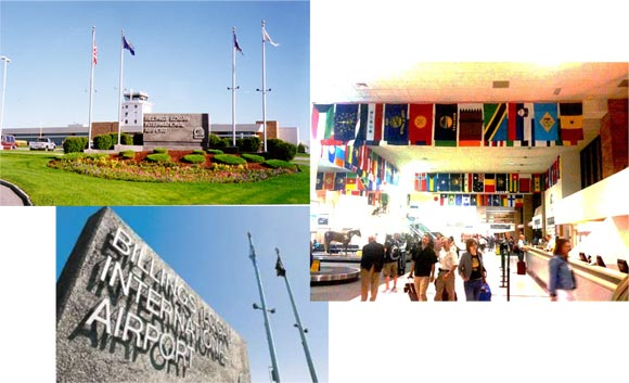 a photo collage of Logan International Airport in Billings