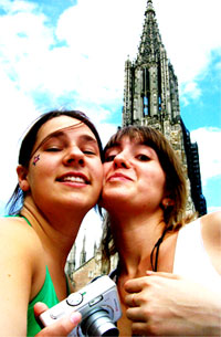 Katie sightseeing in Germany with a friend