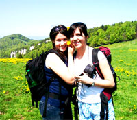 Katie Joy with a friend on a hike in Germany
