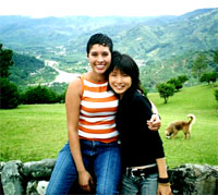 Makiko with friend in the Costa Rican countryside