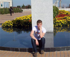 Rory in front of a Chinese monument