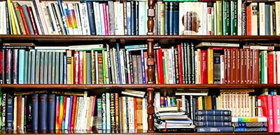 shelves of colorful books