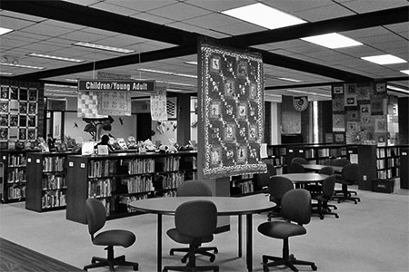 library lobby during a quilt show