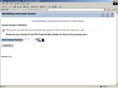screen shot of Banner web page where students enter their pin numbers.