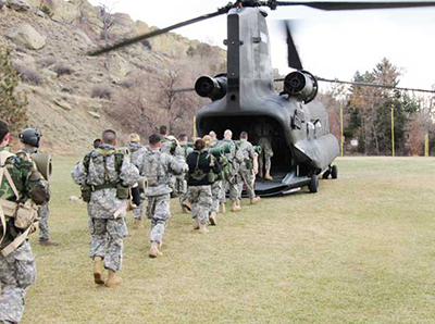cadets boarding a helicopter on the MSUB campus