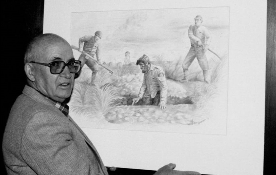 Ben Steele with one of his sketches from the Bataan Death March period