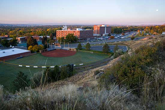 photo of the MSUB university campus taken from the Rims