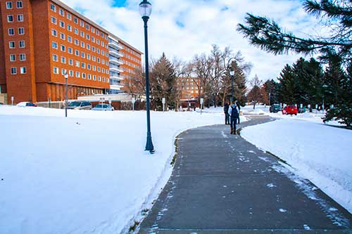 a snowy MSUB  university campus