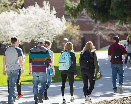 students walking to class in Springtime
